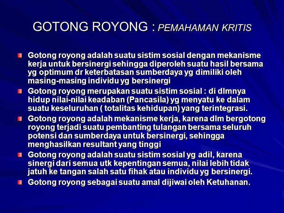 GOTONG ROYONG : PEMAHAMAN KRITIS Gotong royong adalah suatu sistim sosial dengan mekanisme kerja untuk bersinergi sehingga diperoleh suatu hasil bersa