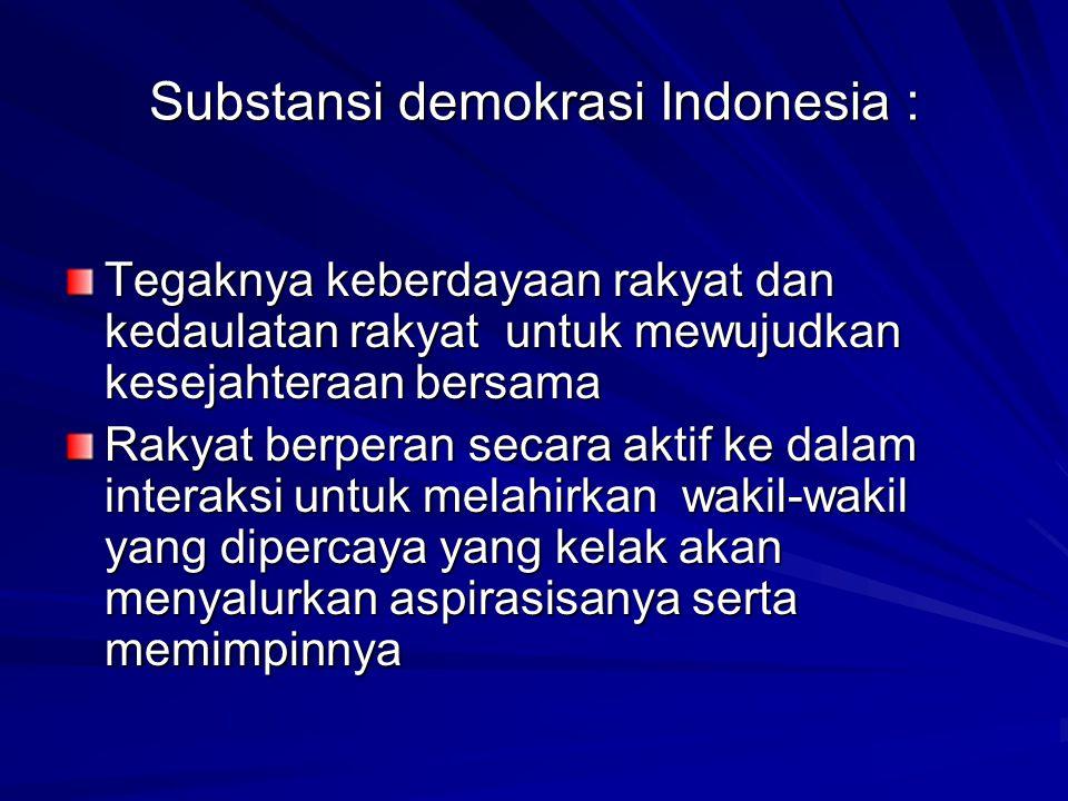 Substansi demokrasi Indonesia : Tegaknya keberdayaan rakyat dan kedaulatan rakyat untuk mewujudkan kesejahteraan bersama Rakyat berperan secara aktif