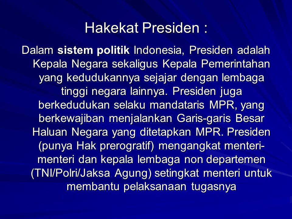 Hakekat Presiden : Dalam sistem politik Indonesia, Presiden adalah Kepala Negara sekaligus Kepala Pemerintahan yang kedudukannya sejajar dengan lembag
