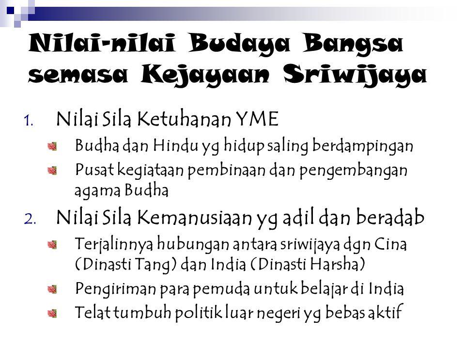 Nilai-nilai Budaya Bangsa semasa Kejayaan Sriwijaya 1. Nilai Sila Ketuhanan YME Budha dan Hindu yg hidup saling berdampingan Pusat kegiataan pembinaan
