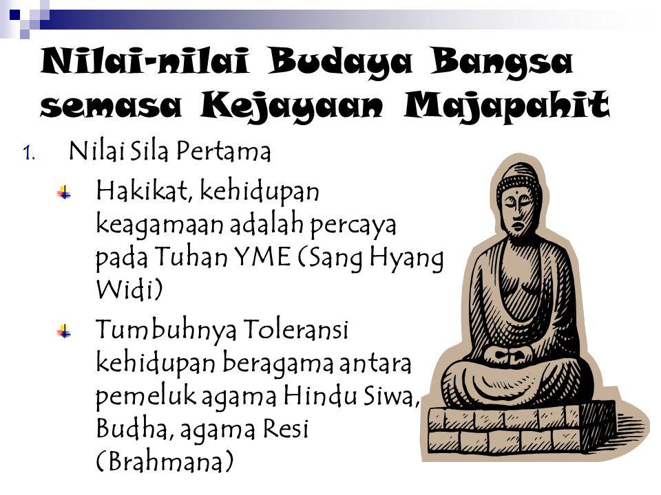 Nilai-nilai Budaya Bangsa semasa Kejayaan Majapahit 1. Nilai Sila Pertama Hakikat, kehidupan keagamaan adalah percaya pada Tuhan YME (Sang Hyang Widi)