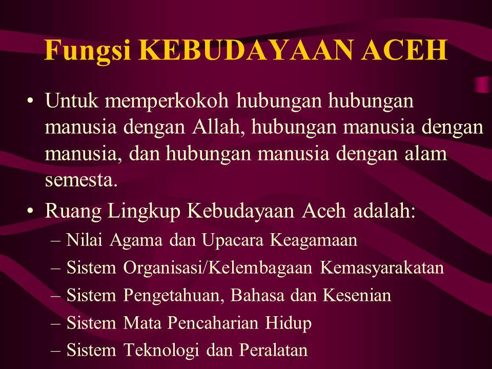 Apasih BUDAYA ACEH itu??? Budaya (Kebudayaan) Aceh adalah hasil cipta, rasa dan karsa manusia Aceh yang menimbulkan kebanggaan bagi suku bangsa yang m