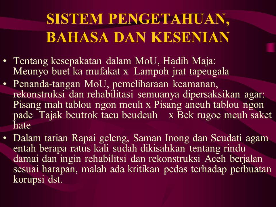 SISTEM KELEMBAGAAN Do'a, harapan damai dan syukuran rekonstruksi sebagaimana kita sebutkan itu dilakukan masyarakat dibawah komando Kepala Mukim, Imum