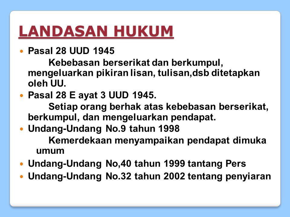 LANDASAN HUKUM Pasal Pasal 28 UUD 1945 Kebebasan berserikat dan berkumpul, mengeluarkan pikiran lisan, tulisan,dsb ditetapkan oleh UU.