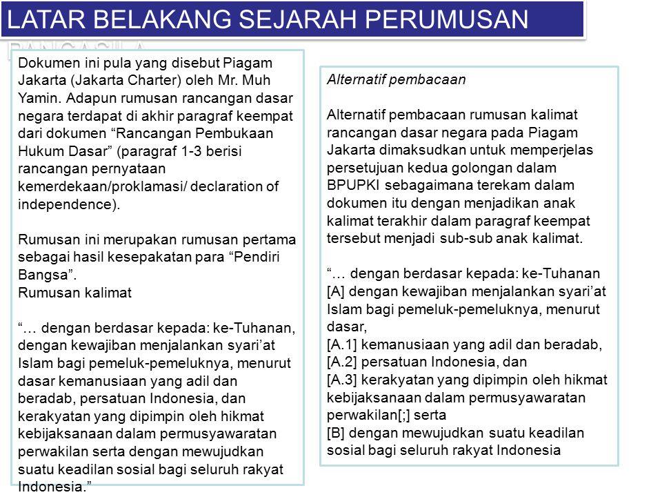 LATAR BELAKANG SEJARAH PERUMUSAN PANCASILA Dokumen ini pula yang disebut Piagam Jakarta (Jakarta Charter) oleh Mr. Muh Yamin. Adapun rumusan rancangan