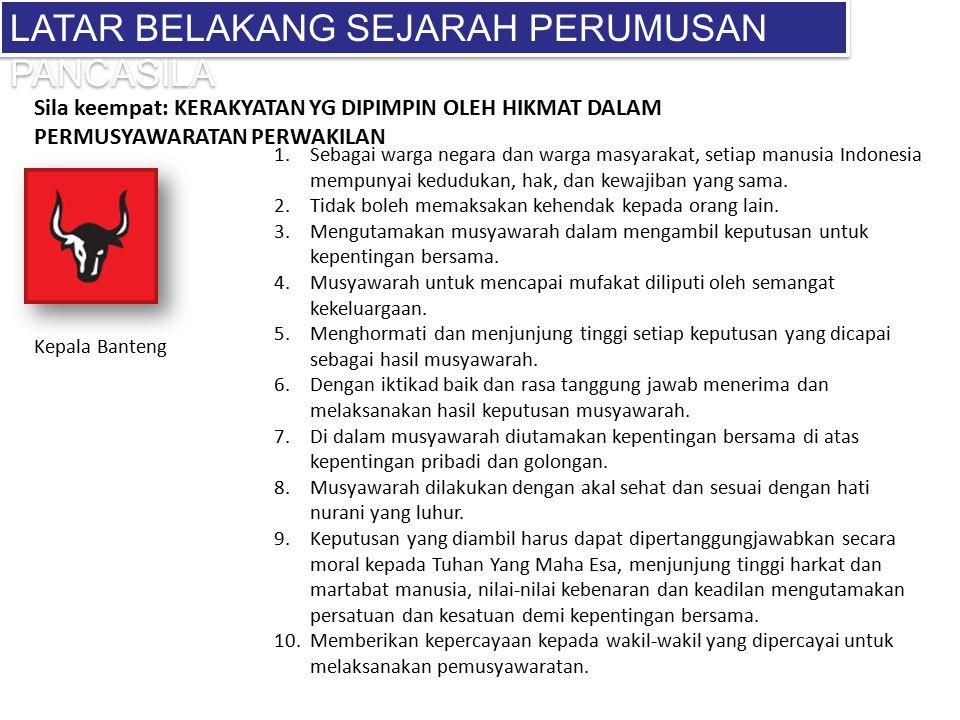 LATAR BELAKANG SEJARAH PERUMUSAN PANCASILA 1.Sebagai warga negara dan warga masyarakat, setiap manusia Indonesia mempunyai kedudukan, hak, dan kewajib