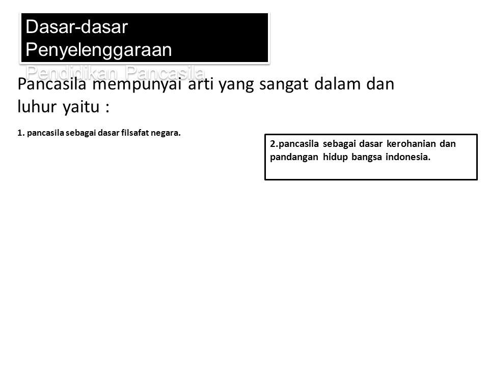 3.pancasila persatuan seluruh bangsa indonesia Dasar-dasar Penyelenggaraan Pendidikan Pancasila 4.