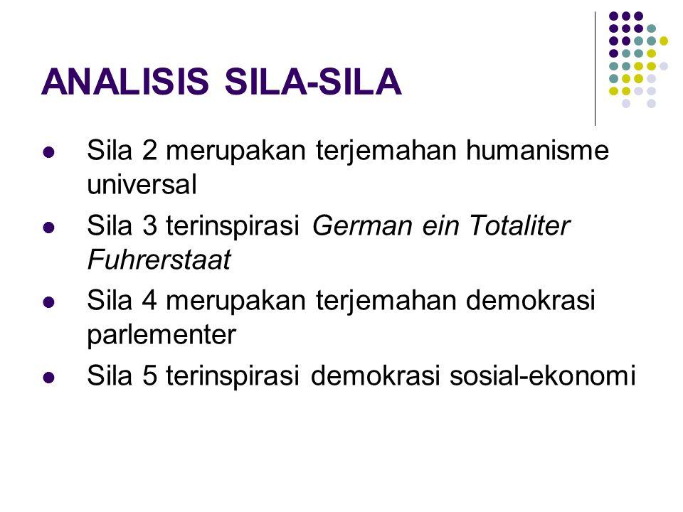 ANALISIS SILA-SILA Sila 2 merupakan terjemahan humanisme universal Sila 3 terinspirasi German ein Totaliter Fuhrerstaat Sila 4 merupakan terjemahan demokrasi parlementer Sila 5 terinspirasi demokrasi sosial-ekonomi
