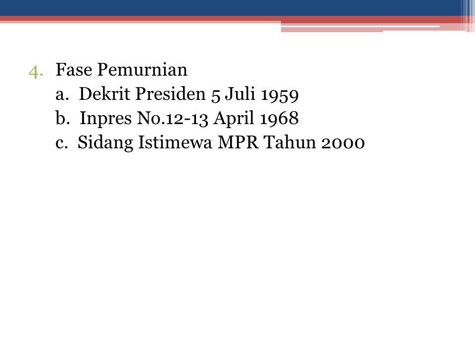 4.Fase Pemurnian a. Dekrit Presiden 5 Juli 1959 b. Inpres No.12-13 April 1968 c. Sidang Istimewa MPR Tahun 2000