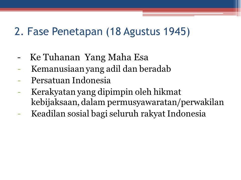 2. Fase Penetapan (18 Agustus 1945) - Ke Tuhanan Yang Maha Esa -Kemanusiaan yang adil dan beradab -Persatuan Indonesia -Kerakyatan yang dipimpin oleh