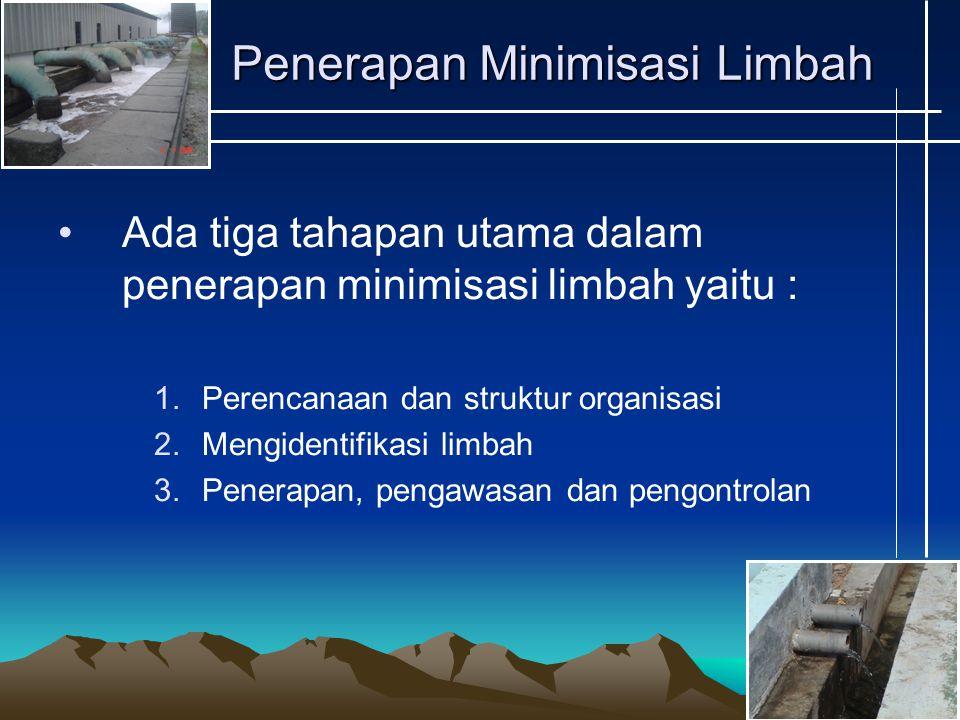 Penerapan Minimisasi Limbah Ada tiga tahapan utama dalam penerapan minimisasi limbah yaitu : 1.Perencanaan dan struktur organisasi 2.Mengidentifikasi limbah 3.Penerapan, pengawasan dan pengontrolan