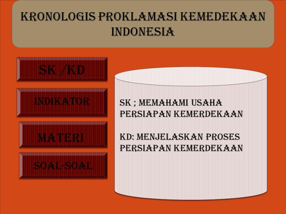 KRONOLOGIS PROKLAMASI KEMEDEKAAN INDONESIA s Sk /kd Sk ; memahami usaha persiapan kemerdekaan Kd: menjelaskan proses persiapan kemerdekaan indikator MATERI SOAL-SOAL
