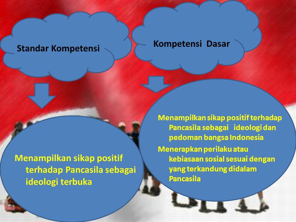 Standar Kompetensi Kompetensi Dasar Menampilkan sikap positif terhadap Pancasila sebagai ideologi dan pedoman bangsa Indonesia Menerapkan perilaku ata