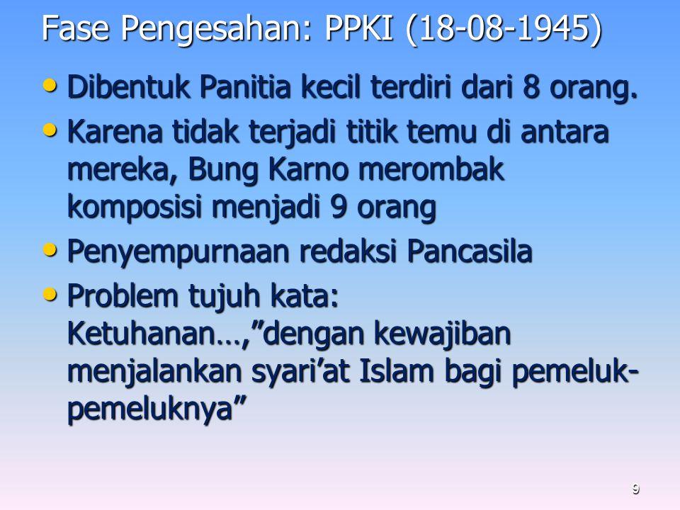 Fase Pengesahan: PPKI (18-08-1945) Dibentuk Panitia kecil terdiri dari 8 orang.