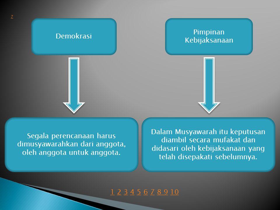 Demokrasi Segala perencanaan harus dimusyawarahkan dari anggota, oleh anggota untuk anggota.