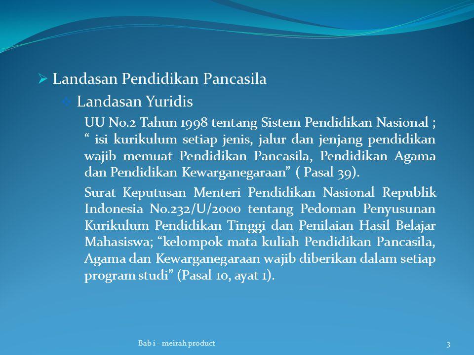  Landasan Pendidikan Pancasila  Landasan Yuridis UU No.2 Tahun 1998 tentang Sistem Pendidikan Nasional ; isi kurikulum setiap jenis, jalur dan jenjang pendidikan wajib memuat Pendidikan Pancasila, Pendidikan Agama dan Pendidikan Kewarganegaraan ( Pasal 39).
