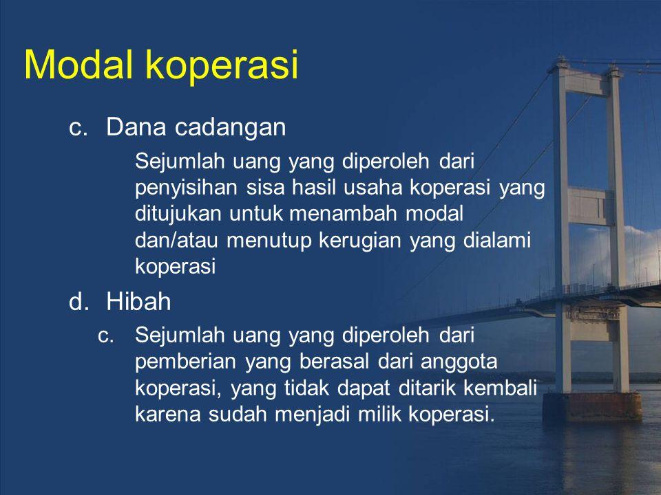 Modal koperasi c.Dana cadangan Sejumlah uang yang diperoleh dari penyisihan sisa hasil usaha koperasi yang ditujukan untuk menambah modal dan/atau men