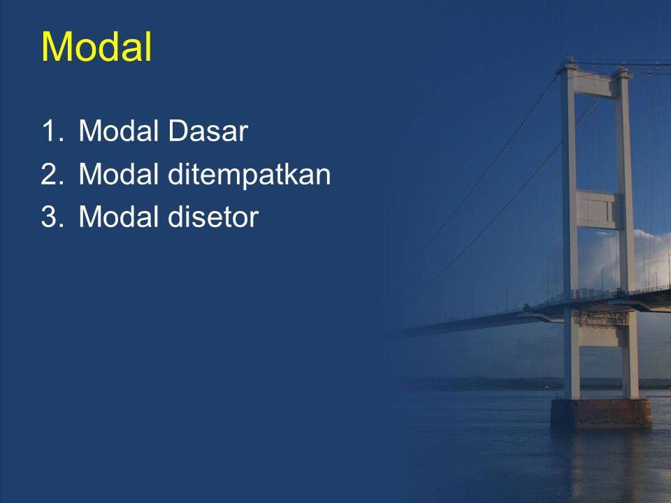 Modal 1.Modal Dasar 2.Modal ditempatkan 3.Modal disetor