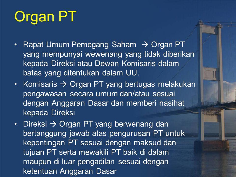 Organ PT Rapat Umum Pemegang Saham  Organ PT yang mempunyai wewenang yang tidak diberikan kepada Direksi atau Dewan Komisaris dalam batas yang ditent