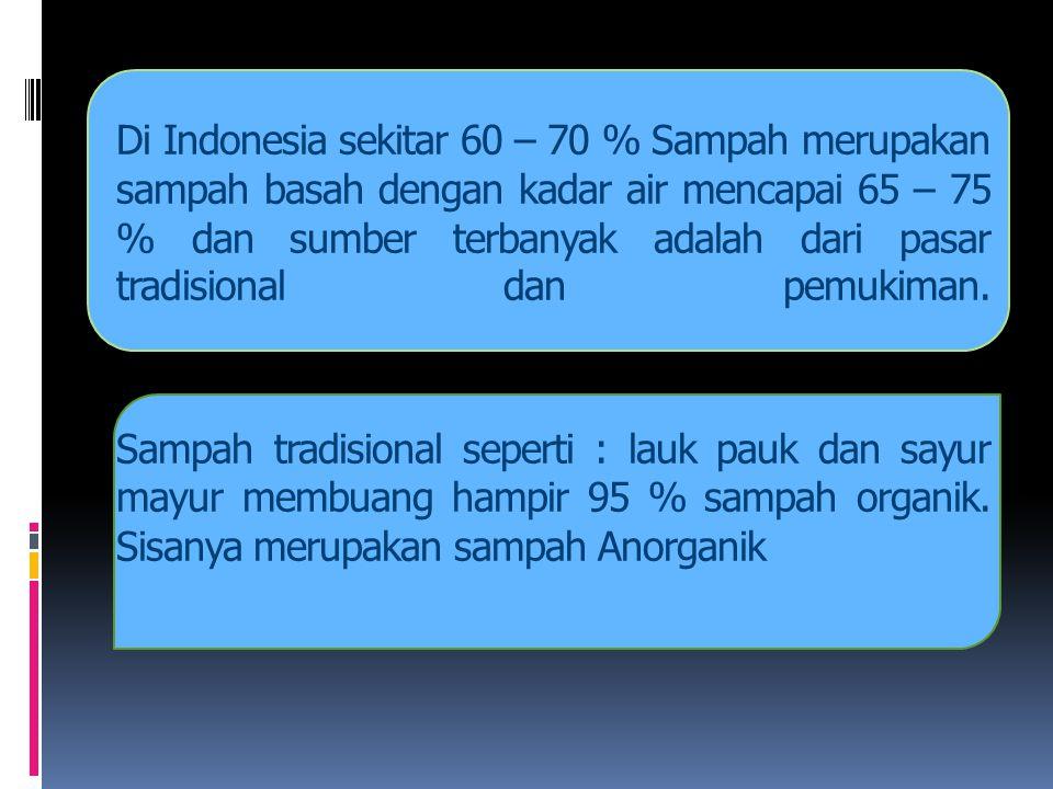 Di Indonesia sekitar 60 – 70 % Sampah merupakan sampah basah dengan kadar air mencapai 65 – 75 % dan sumber terbanyak adalah dari pasar tradisional dan pemukiman.
