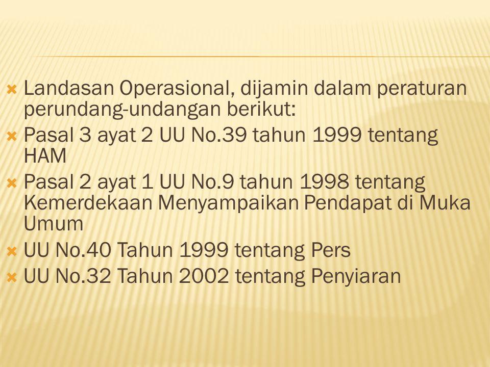  Landasan Operasional, dijamin dalam peraturan perundang-undangan berikut:  Pasal 3 ayat 2 UU No.39 tahun 1999 tentang HAM  Pasal 2 ayat 1 UU No.9