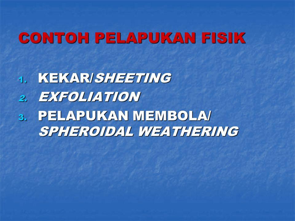 CONTOH PELAPUKAN FISIK 1. KEKAR/SHEETING 2. EXFOLIATION 3. PELAPUKAN MEMBOLA/ SPHEROIDAL WEATHERING