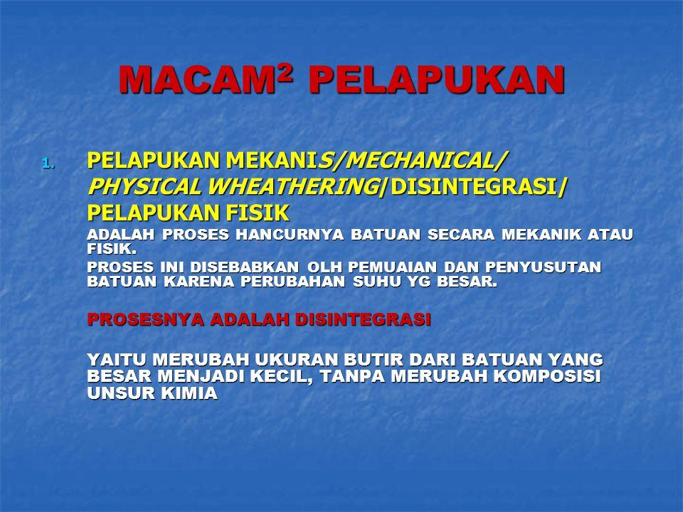 MACAM 2 PELAPUKAN 1. PELAPUKAN MEKANIS/MECHANICAL/ PHYSICAL WHEATHERING/DISINTEGRASI/ PELAPUKAN FISIK ADALAH PROSES HANCURNYA BATUAN SECARA MEKANIK AT