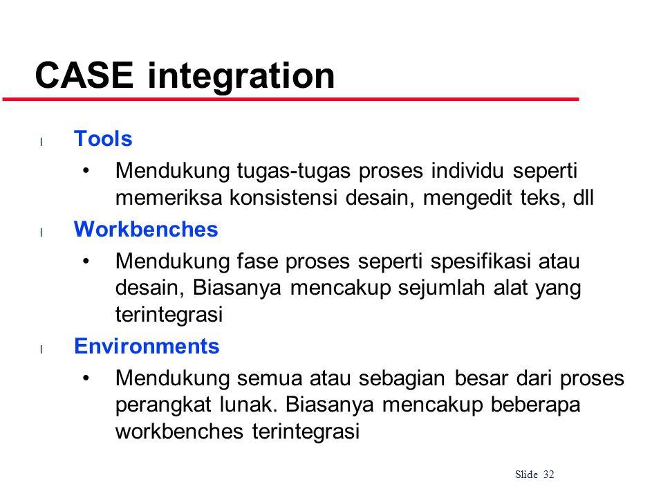 Slide 32 CASE integration l Tools Mendukung tugas-tugas proses individu seperti memeriksa konsistensi desain, mengedit teks, dll l Workbenches Mendukung fase proses seperti spesifikasi atau desain, Biasanya mencakup sejumlah alat yang terintegrasi l Environments Mendukung semua atau sebagian besar dari proses perangkat lunak.