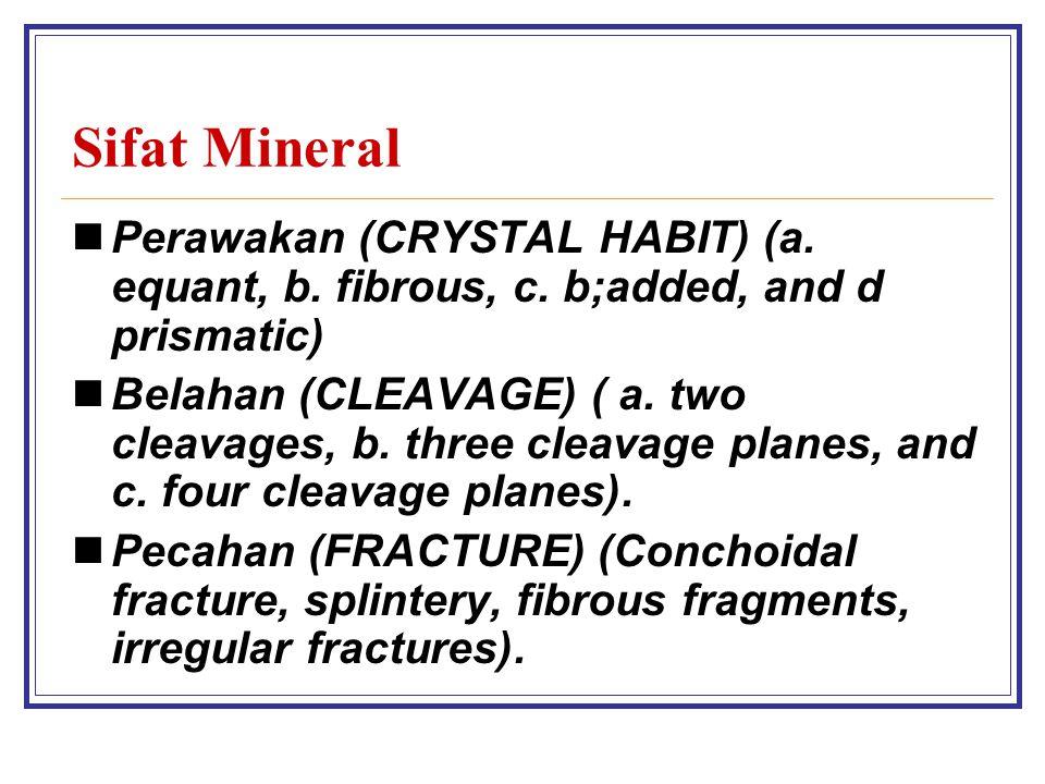 Sifat Mineral Perawakan (CRYSTAL HABIT) (a.equant, b.
