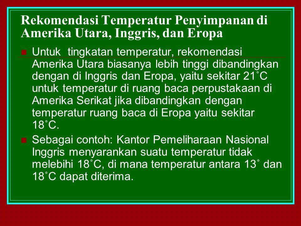 Rekomendasi Temperatur Penyimpanan di Amerika Utara, Inggris, dan Eropa Untuk tingkatan temperatur, rekomendasi Amerika Utara biasanya lebih tinggi di