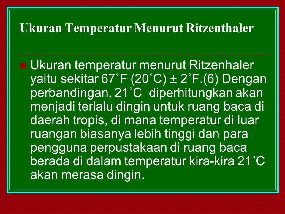 Ukuran Temperatur Menurut Ritzenthaler Ukuran temperatur menurut Ritzenhaler yaitu sekitar 67˚F (20˚C) ± 2˚F.(6) Dengan perbandingan, 21˚C diperhitung