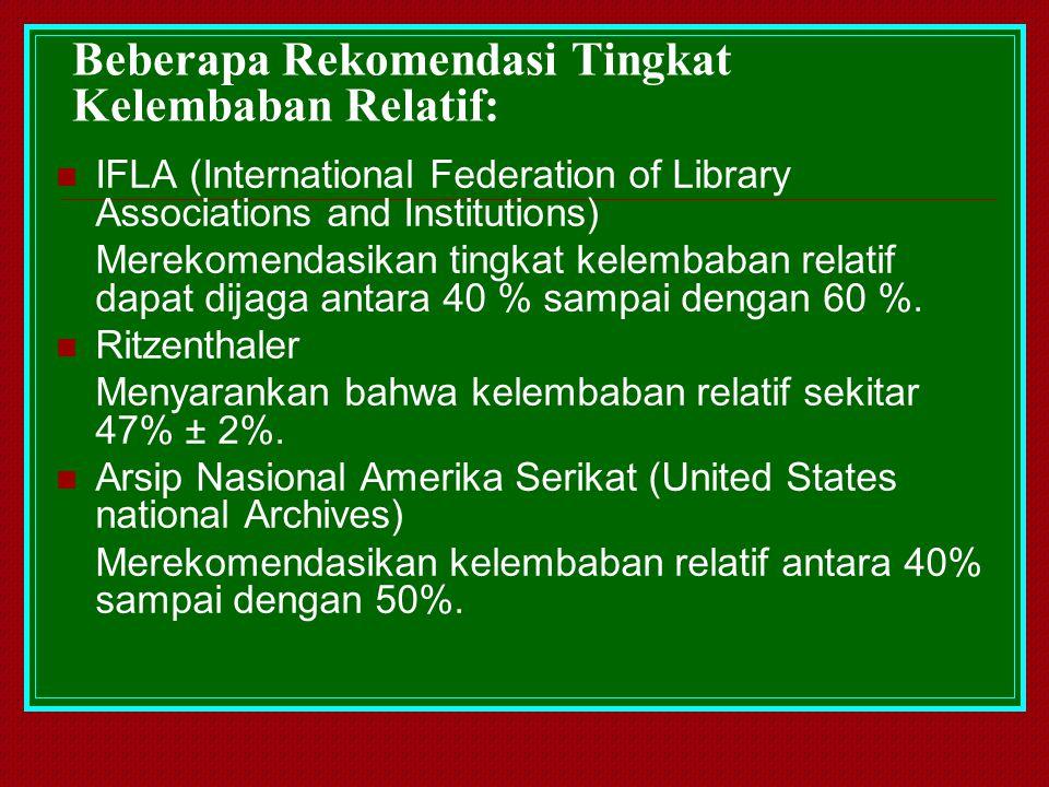 Beberapa Rekomendasi Tingkat Kelembaban Relatif: IFLA (International Federation of Library Associations and Institutions) Merekomendasikan tingkat kel