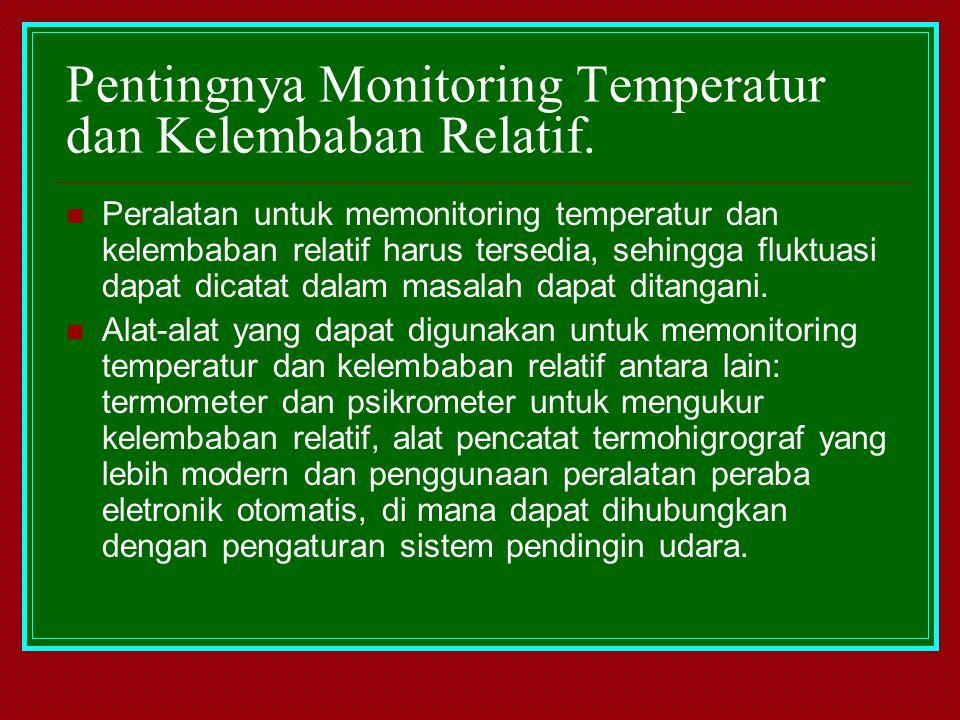 Pentingnya Monitoring Temperatur dan Kelembaban Relatif. Peralatan untuk memonitoring temperatur dan kelembaban relatif harus tersedia, sehingga flukt