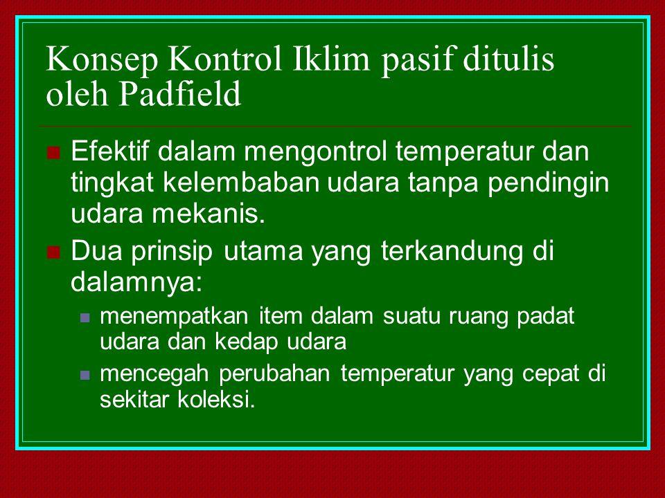Konsep Kontrol Iklim pasif ditulis oleh Padfield Efektif dalam mengontrol temperatur dan tingkat kelembaban udara tanpa pendingin udara mekanis. Dua p