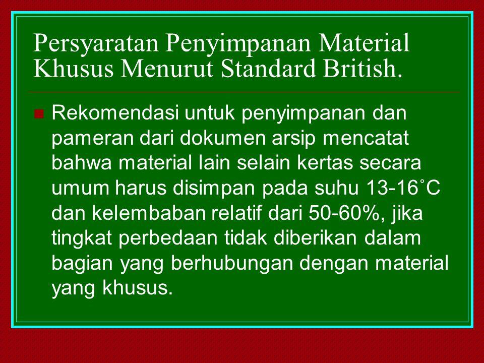 Persyaratan Penyimpanan Material Khusus Menurut Standard British. Rekomendasi untuk penyimpanan dan pameran dari dokumen arsip mencatat bahwa material