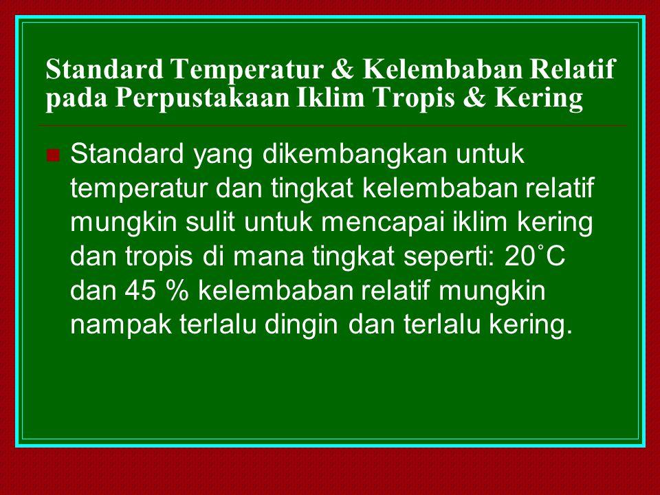 Standard Temperatur & Kelembaban Relatif pada Perpustakaan Iklim Tropis & Kering Standard yang dikembangkan untuk temperatur dan tingkat kelembaban re