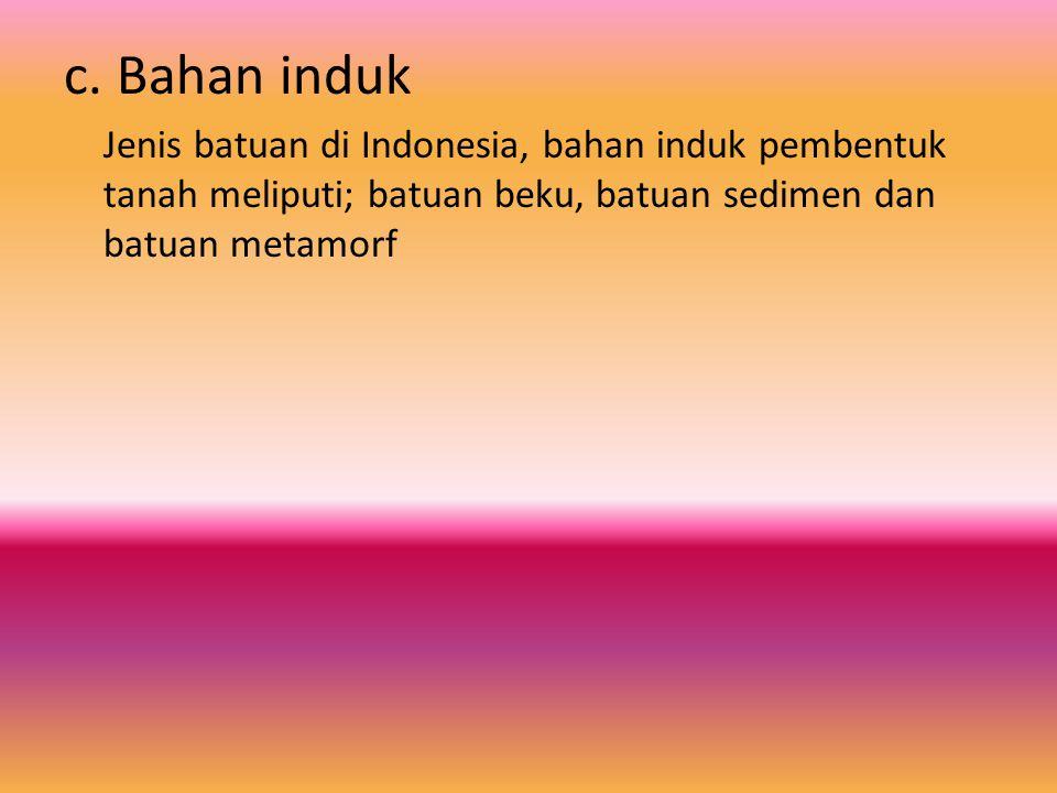 c. Bahan induk Jenis batuan di Indonesia, bahan induk pembentuk tanah meliputi; batuan beku, batuan sedimen dan batuan metamorf