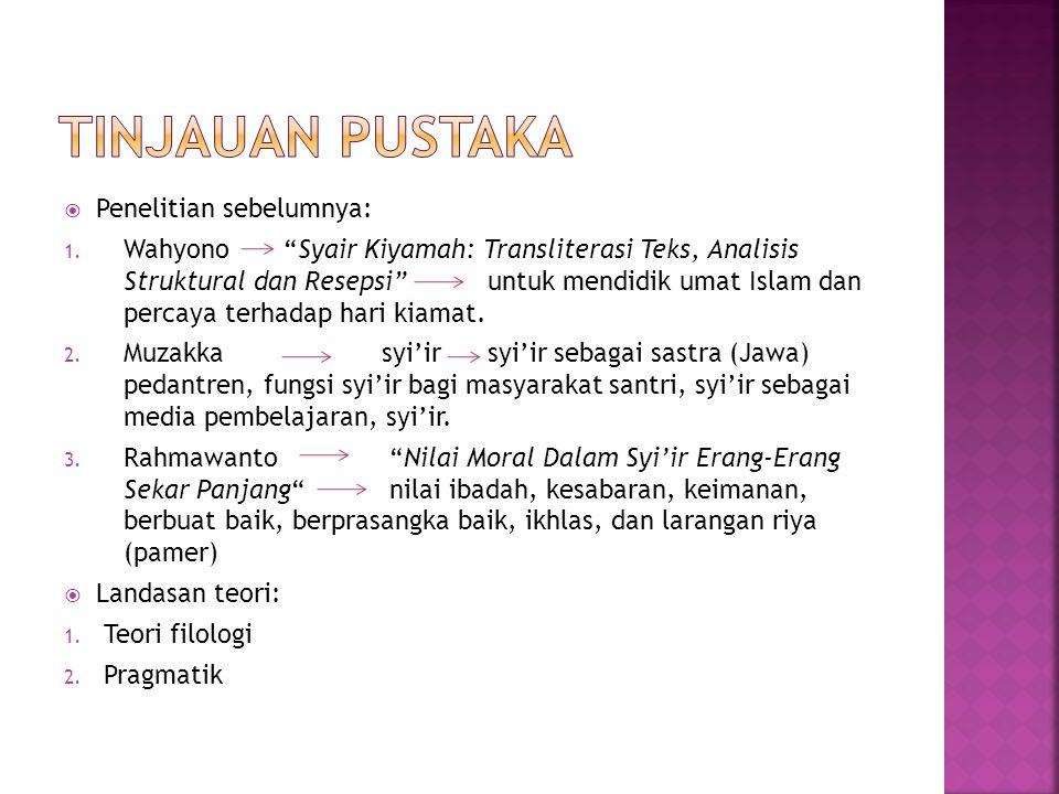 " Penelitian sebelumnya: 1. Wahyono ""Syair Kiyamah: Transliterasi Teks, Analisis Struktural dan Resepsi"" untuk mendidik umat Islam dan percaya terhada"