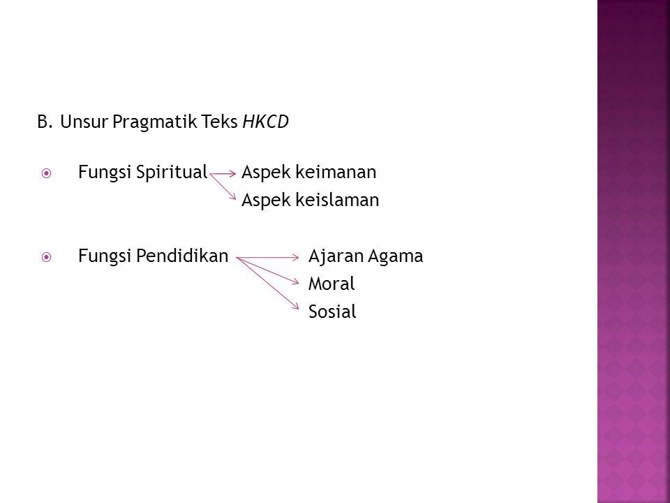 B. Unsur Pragmatik Teks HKCD  Fungsi SpiritualAspek keimanan Aspek keislaman  Fungsi PendidikanAjaran Agama Moral Sosial