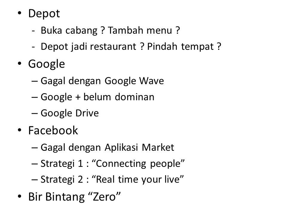 Depot -Buka cabang ? Tambah menu ? -Depot jadi restaurant ? Pindah tempat ? Google – Gagal dengan Google Wave – Google + belum dominan – Google Drive