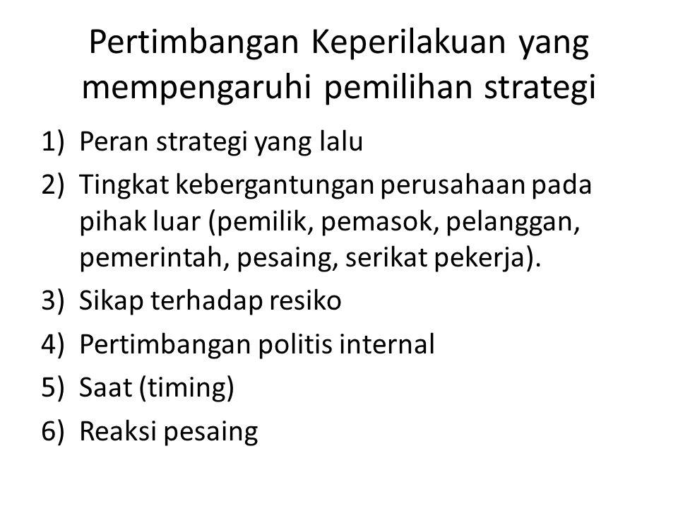 Pertimbangan Keperilakuan yang mempengaruhi pemilihan strategi 1)Peran strategi yang lalu 2)Tingkat kebergantungan perusahaan pada pihak luar (pemilik, pemasok, pelanggan, pemerintah, pesaing, serikat pekerja).
