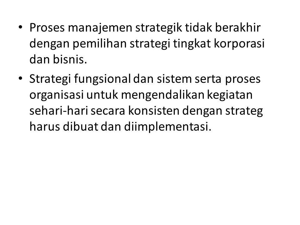 Proses manajemen strategik tidak berakhir dengan pemilihan strategi tingkat korporasi dan bisnis. Strategi fungsional dan sistem serta proses organisa