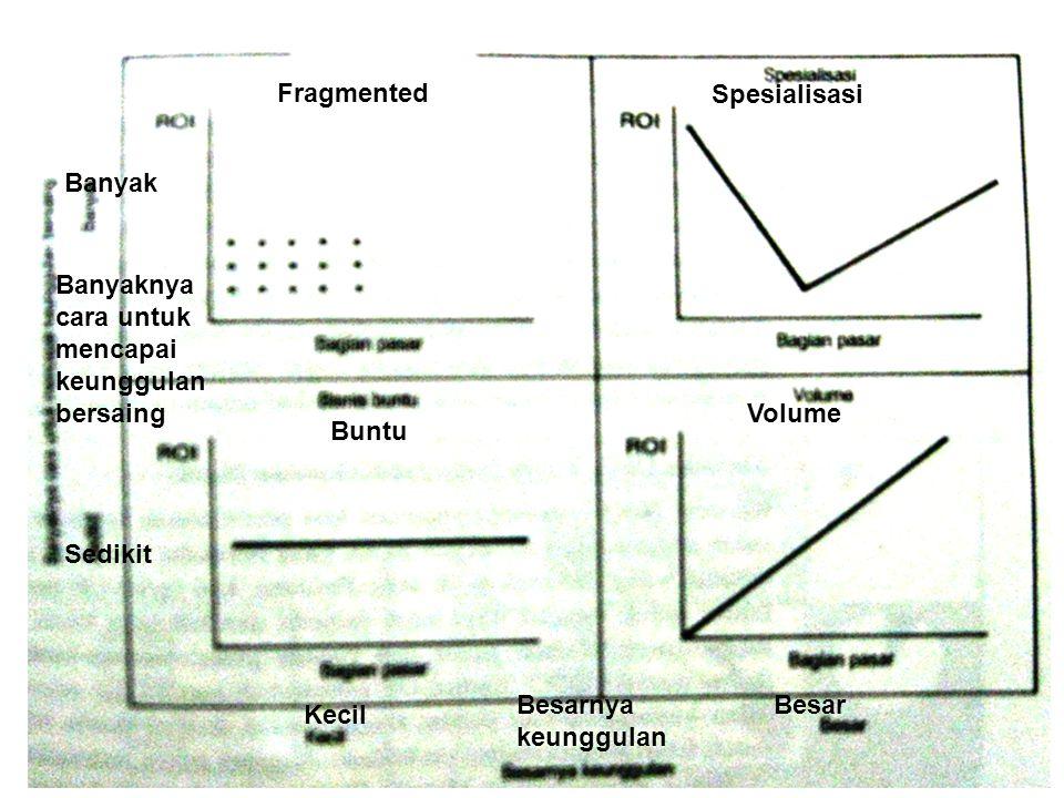 Fragmented Spesialisasi Buntu Volume Banyaknya cara untuk mencapai keunggulan bersaing Banyak Sedikit Besarnya keunggulan Kecil Besar