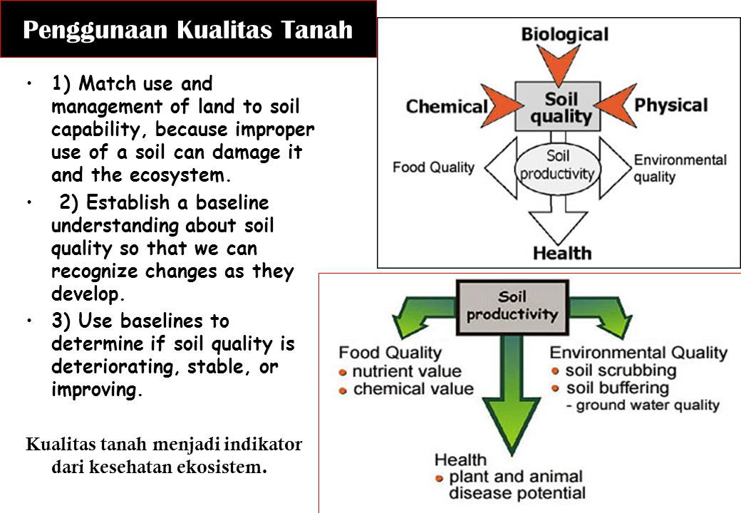Penggunaan Kualitas Tanah 1) Match use and management of land to soil capability, because improper use of a soil can damage it and the ecosystem. 2) E