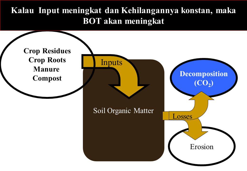 Decomposition (CO 2 ) Erosion Soil Organic Matter Losses Inputs Crop Residues Crop Roots Manure Compost Kalau Input meningkat dan Kehilangannya konsta