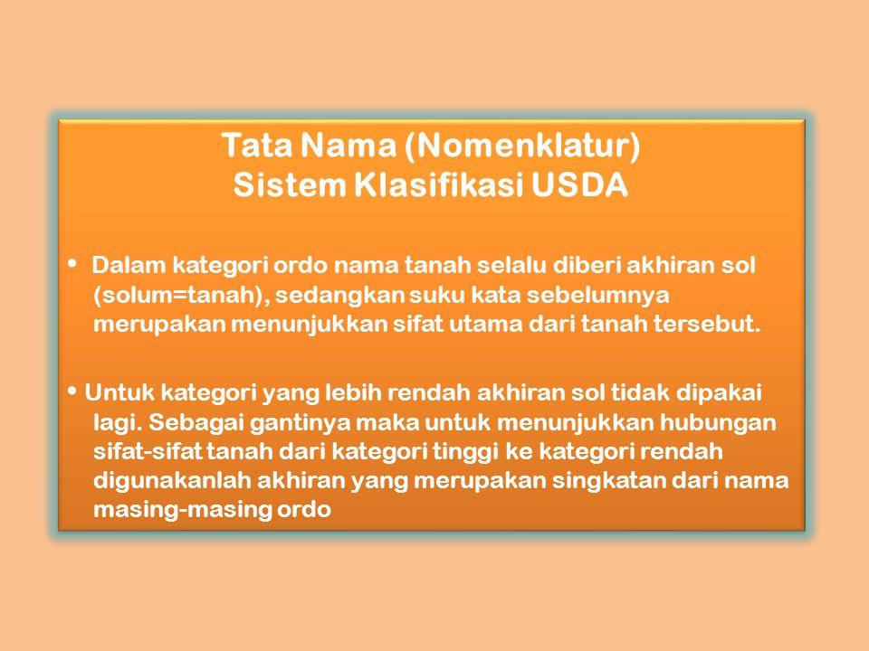 Tata Nama (Nomenklatur) Sistem Klasifikasi USDA Dalam kategori ordo nama tanah selalu diberi akhiran sol (solum=tanah), sedangkan suku kata sebelumnya