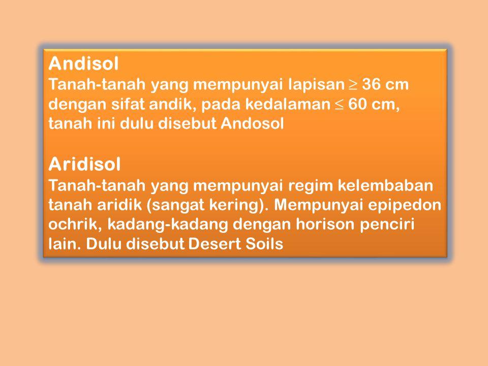 Andisol Tanah-tanah yang mempunyai lapisan ≥ 36 cm dengan sifat andik, pada kedalaman ≤ 60 cm, tanah ini dulu disebut Andosol Aridisol Tanah-tanah yan