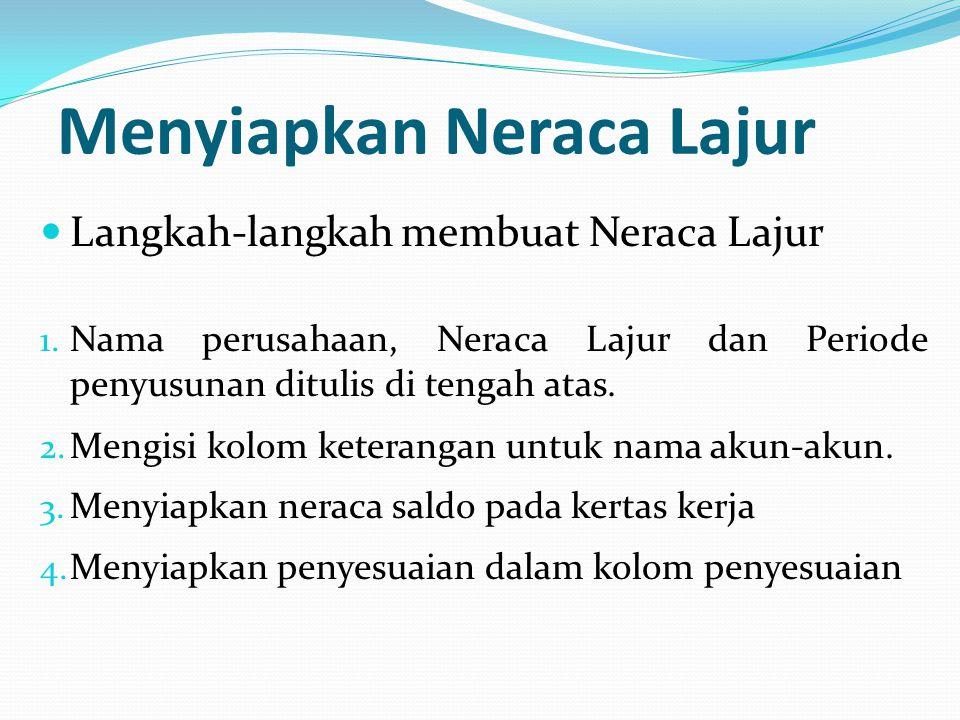 Langkah-langkah membuat Neraca Lajur 1. Nama perusahaan, Neraca Lajur dan Periode penyusunan ditulis di tengah atas. 2. Mengisi kolom keterangan untuk