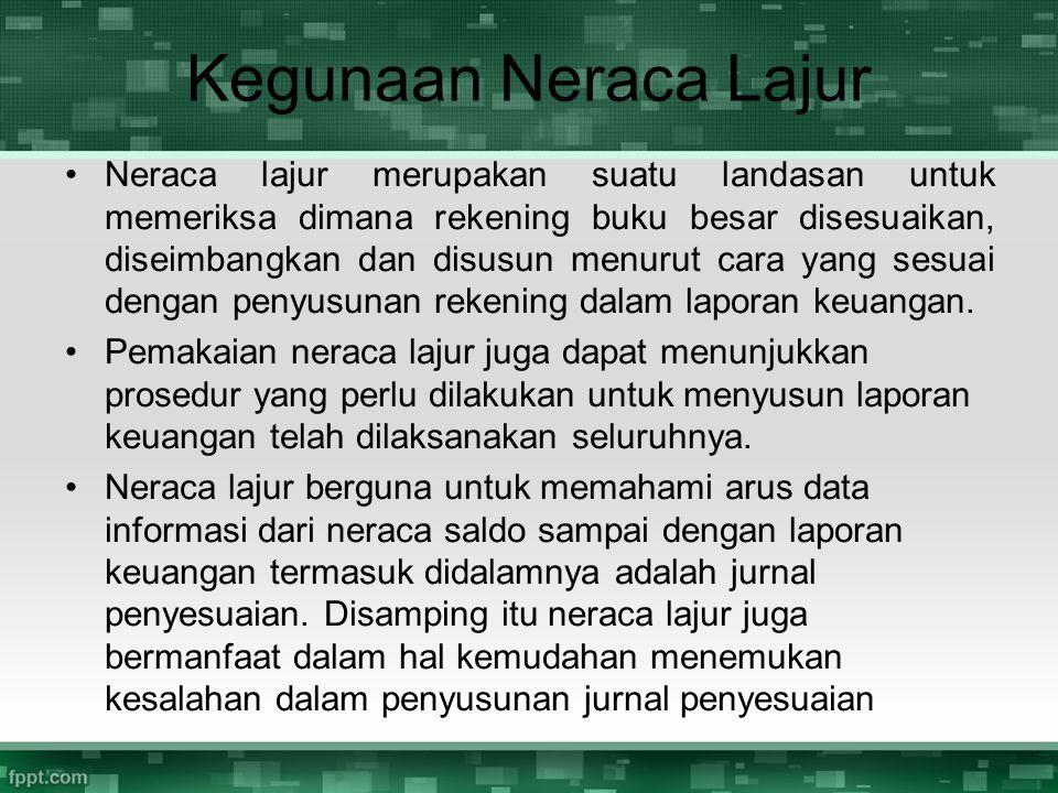 Kegunaan Neraca Lajur Neraca lajur merupakan suatu landasan untuk memeriksa dimana rekening buku besar disesuaikan, diseimbangkan dan disusun menurut