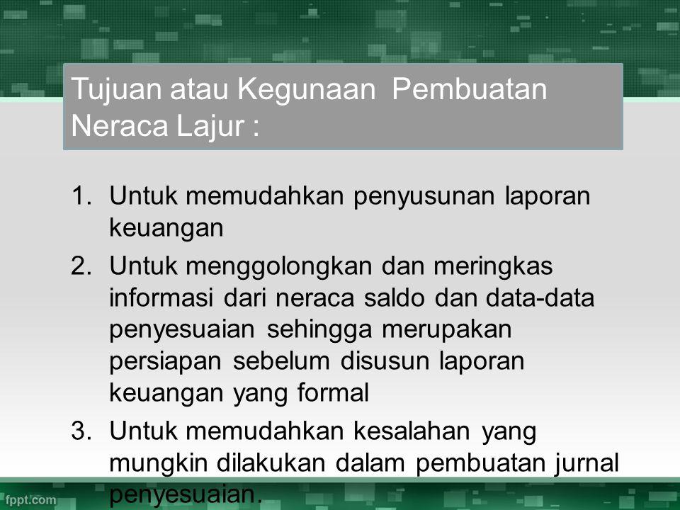 1.Untuk memudahkan penyusunan laporan keuangan 2.Untuk menggolongkan dan meringkas informasi dari neraca saldo dan data-data penyesuaian sehingga meru